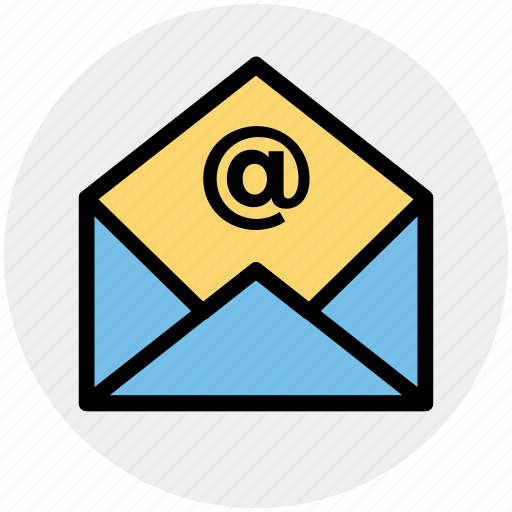 at, envelope, letter, mail, message, open icon