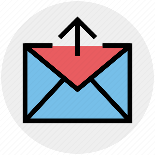 arrow, email, envelope, letter, mail, outbox icon