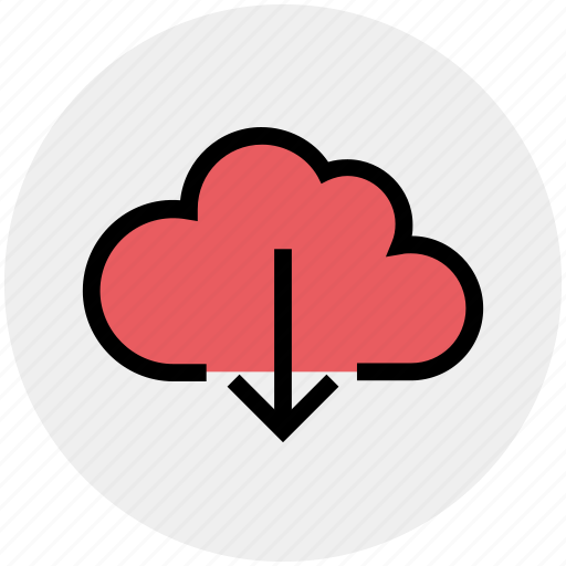 cloud and download sign, cloud computing, cloud download, cloud downloading, cloud network icon