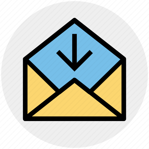 arrow, down, email, envelope, open, outbox icon