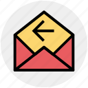email, left arrow, letter, message, open, receive