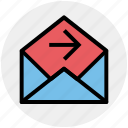 email, forward, letter, message, open, right arrow icon