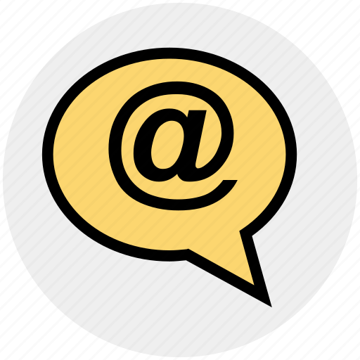 at, contact, mail, message, text icon