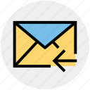 email, left arrow, letter, mail, message, receive