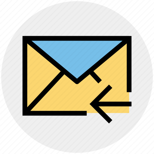 email, left arrow, letter, mail, message, receive icon