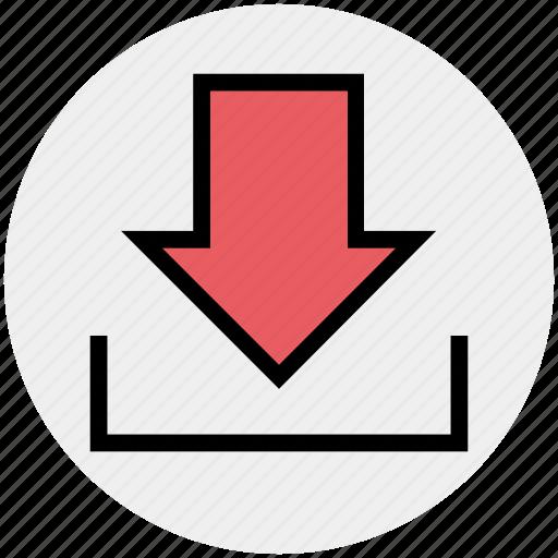 arrow, down, down arrow, download icon