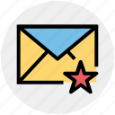 envelope, favorite, letter, mail, message, star icon
