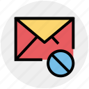 envelope, disable, letter, mail, message, email, block