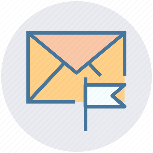 email, envelope, flag, letter, mail, message icon