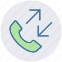 arrows, calls, incoming, outgoing, phone, telephone icon
