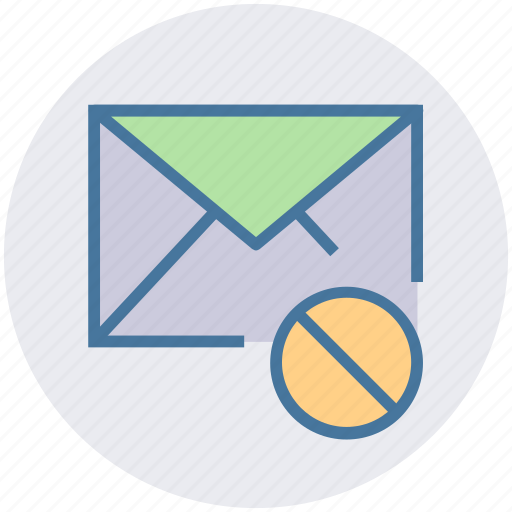 block, disable, email, envelope, letter, message icon