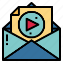 email, multimedia, play, video icon