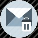 dustbin, email, envelope, letter, message, remove