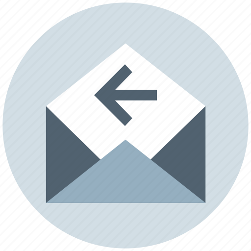 email, left arrow, letter, message, open, receive icon
