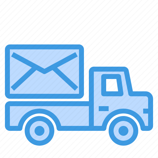 email, envelope, mail, truck, web icon