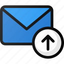 arrow, email, mail, send, up, upload