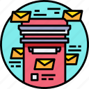 box, communication, email, letter, mail, message, send icon