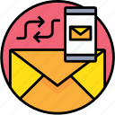 communication, email, letter, mail, message, smartphone, sync icon