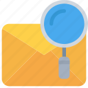 email, letter, mail, message, search icon