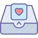 email, greetings, heart, inbox icon