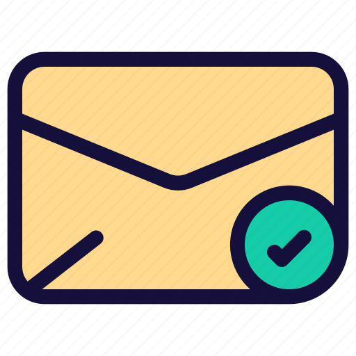 check, email, envelope, letter, mail, message icon