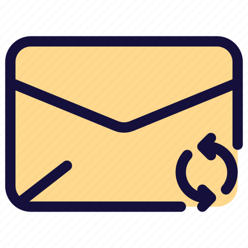 email, envelope, letter, mail, message, sync icon