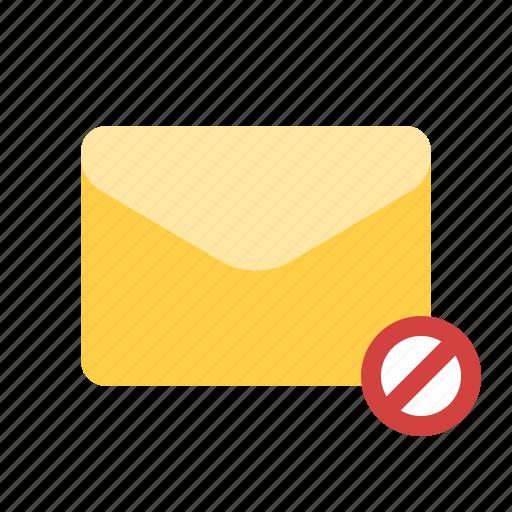 block, blocked, cancel sending, mail icon