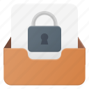 email, envelope, inbox, lock, mail, message icon