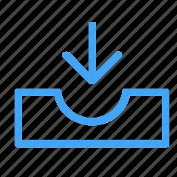 arrow, arrows, direction, down, download, inbox icon