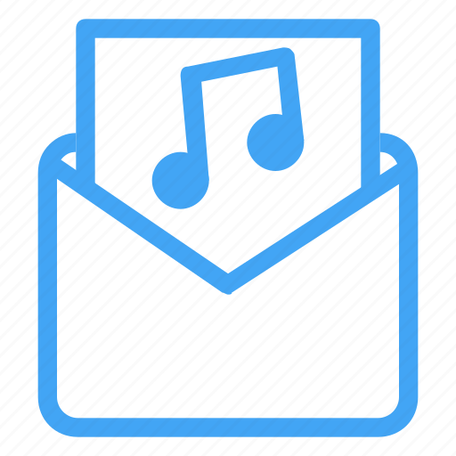 audio, email, envelope, letter, mail, message, music icon
