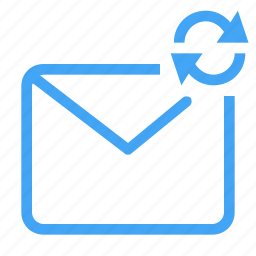email, letter, mail, message, refresh, sync, update icon