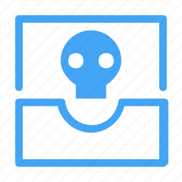 conversation, email, inbox, mail, message, skeleton, skull icon