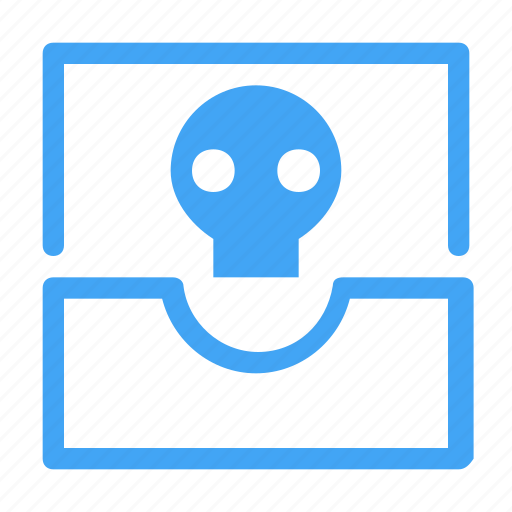 conversation, email, inbox, mail, message, skeleton, skull icon