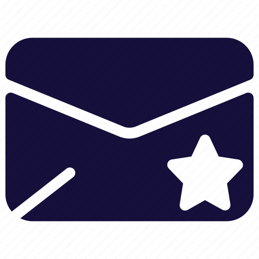 email, envelope, letter, mail, message, star icon