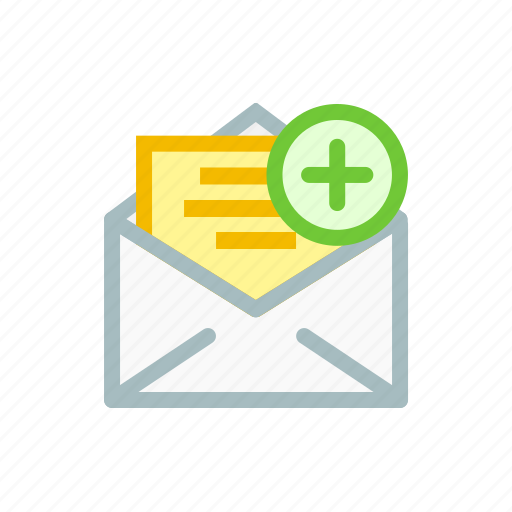 add, email, insert, letter, mail, newsletter, plus icon