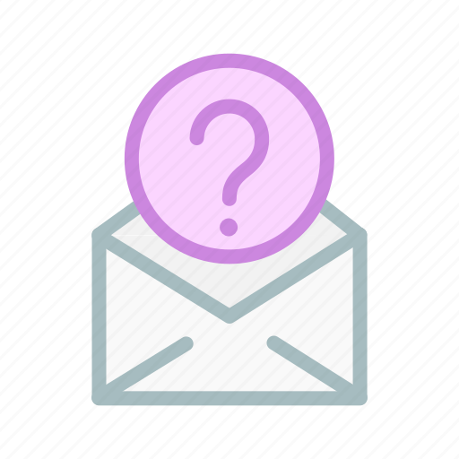 confuse, email, help, learn, mail, question, support icon
