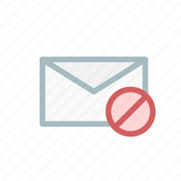 denied, email, envelope, failed, mail, receive, send icon