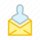 email, envelope, inbox, mail, man, people, person icon