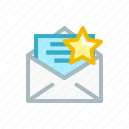 bookmark, email, favourite, letter, mail, send, star icon