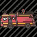 fire, truck, firefighter, emergency, rescue