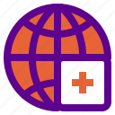 global, health, hospital, medical, warn icon