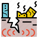crack, destroy, earthquake, fissure, geohazard icon