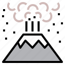 erupt, eruption, explosion, geohazard, pop, volcano icon