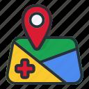 emergency, location, map, pin, navigation, gps