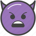 angry devil face, emoji, emotag, emoticon, emotion icon