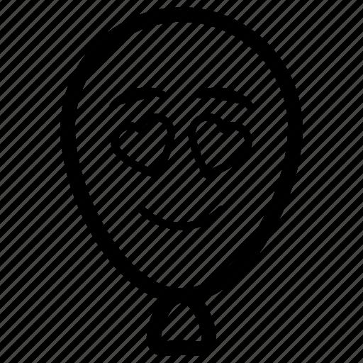 balloon emoji, emotag, emoticon, emotion, heart eyes balloon icon
