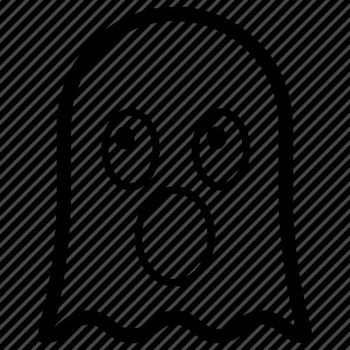 emoji, emotag, emoticon, emotion, shocked ghost icon