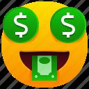 money, dollar, emoji, emoticon, feeling, face, tongue