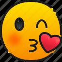 kiss, emoji, emoticon, feeling, face, smile, happy