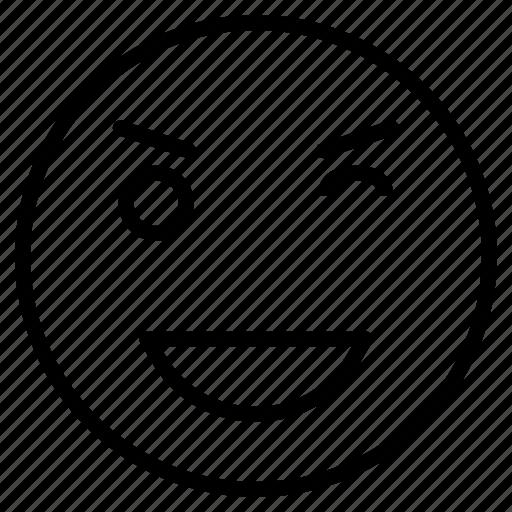 emoji, emotion, expression, naughty, smiley, wink icon